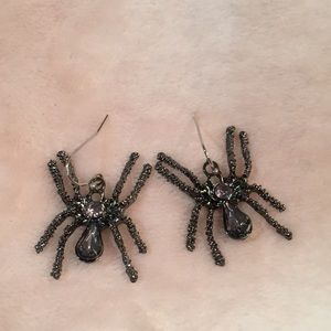 Halloween Spider Earrings Gunmetal Gray Metal NWT